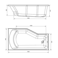 Ванна акриловая Marka One Convey 150x75 Левая