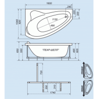 Ванна акриловая Triton Пеарл-Шелл 160x104 Правая