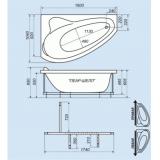 Ванна акриловая Triton Пеарл-Шелл правая